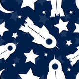 Abstract star, rocket, moon in seamless repeating pattern.Vector Stock Photography