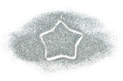 Abstract star of silver glitter sparkle on white background Stock Image