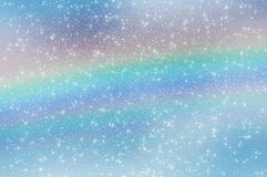 Abstract star sky clouds rainbow snowflakes. Abstract delicate heavenly white blue background with snowflakes, stars and rainbow. Can be used as wallpaper stock images