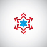 Abstract star symbol illustration logo. Red blue on white background stock illustration