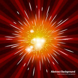 Abstract starburst red background. Cool background. For holiday with firework. Radial motion lines in perspective with light. Abstract background in vector Royalty Free Stock Photo