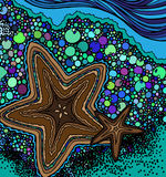 Abstract starfish and abstract shore with sea water. Vector stock illustration
