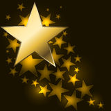 Abstract starry background. With golden star shaped label Stock Photography