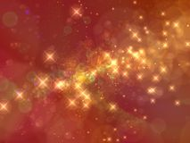 Abstract starry background. Abstract background of yellow stars shining on red Stock Images
