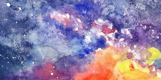 Abstract starry night sky in watercolor. Abstract starry night watercolor sky with milky way and sunset Stock Photography
