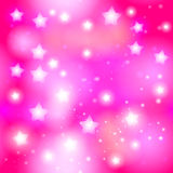Abstract starry seamless pattern with neon star on bright pink background. Galaxy Night sky with stars. Vector stock illustration