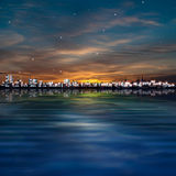 Abstract stars background with sunset in Tallinn Stock Image