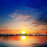 Abstract stars background with sunset in Tallinn Royalty Free Stock Photo