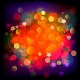 Abstract stars and blots backdrop. Vector illustration of red abstract light blots and stars background Royalty Free Stock Image