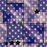 Abstract stars grunge geometric retro seamless pattern backgroun Stock Photo