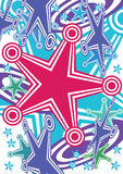 Abstract Stars Hit Target Active_eps. Illustration of abstract active stars on white background, Imagine when hit target, pink star happy jump up Stock Image