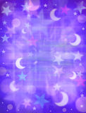Abstract Stars Moon Dreams Background. A background of stars and moons with purple and blue tones Royalty Free Stock Images