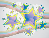 Abstract stars on rainbow stripes. Background - illustration Royalty Free Stock Photos