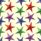 Abstract Stars seamless pattern background. The seamless night new year`s patterns on a yellow background Stock Photos
