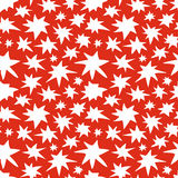 Abstract Stars Seamless Pattern Doodle Texture. Abstract doodle stars seamless pattern texture. Various size hand drawn white stars on red background. Optimized Stock Photo