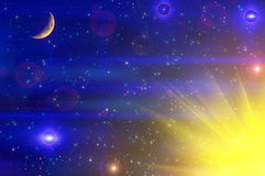 Abstract stars sky moon background. Colorful abstract space background with the moon, stars and sun. Can be used as wallpaper Royalty Free Stock Photo