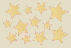 Abstract stars. Abstract untidy yellow stars with lined border for untidy christmas Stock Photos