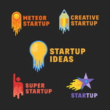 Abstract Startup Icons, Symbol, Signs or Logo Template Set. Flat Style on Dark Background. Lightbulb, Pensil, Meteor, Human and Star Rocket Vector Illustration