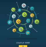 Abstract startup project, development background. Digital connect system with integrated circles, color flat icons vector illustration