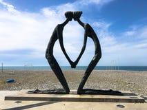 Abstract statues of people in love on the Batumi Primorsky Boulevard or Batumi Beach. Georgia, Batumi, April 17, 2019 stock image