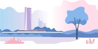 Abstract stedelijk landschap Elektrische trein, high-rise gebouwen en de hemel in de wolken Vector illustratie - Het vector royalty-vrije illustratie