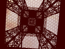 Abstract_steel_construction. View from below on steel construction of model of  Eiffel Tower Royalty Free Stock Images