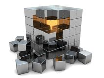 Abstract steel cube. Abstract 3d illustration of steel cube puzzle with gold inside Royalty Free Stock Photo