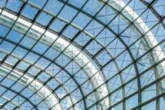 Abstract steel stucture glass facade. Abstract steel structure frame with glass facade of Rainforest Dome in Garden By the Bay, Singapore Royalty Free Stock Photos
