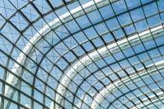 Abstract steel stucture glass facade. Abstract steel structure frame with glass facade of Rainforest Dome in Garden By the Bay, Singapore Royalty Free Stock Images
