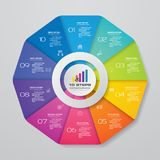 Abstract 10 steps chart infographics elements.Vector illustration. EPS 10 stock illustration