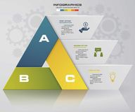Abstract 3 steps chart in triangle shape with clean banners template. Vector. EPS10. Stock Images