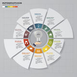 Abstract 10 steps circle/wheel infographis elements.Vector illustration. Royalty Free Stock Image