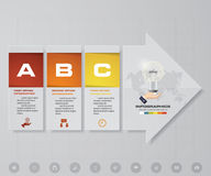 Abstract 3 steps infographics elements with arrow shape elements.Vector illustration. Align in vertical dimension. Stock Images