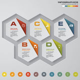 Abstract 5 steps infographics elements.Vector illustration. For your design and presentation Stock Images