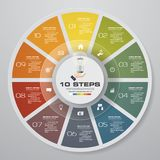 Abstract 10 steps modern pie chart infographics elements.Vector illustration. EPS 10 Stock Illustration