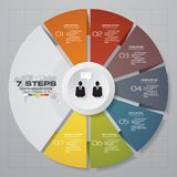 Abstract 7 steps modern pie chart infographics elements.Vector illustration. EPS 10 Royalty Free Illustration
