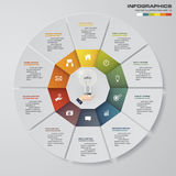 Abstract 10 steps modern pie chart infographics elements.Vector illustration. EPS10 Vector Illustration