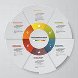 Abstract 6 steps modern pie chart infographics elements.Vector illustration. Royalty Free Stock Photo