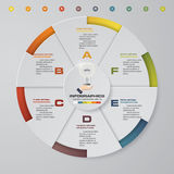 Abstract 6 steps modern pie chart infographics elements.Vector illustration. EPS10 Stock Images
