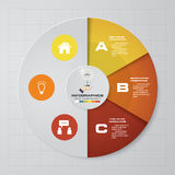 Abstract 3 steps pie chart infographics elements.Vector illustration. Abstract 3 steps infographics elements.Vector illustration. EPS10 Stock Photos