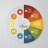 Abstract 5 steps pie chart infographics elements.Vector illustration. Abstract 5 steps infographics elements.Vector illustration. EPS10 royalty free illustration