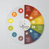 Abstract 6 steps pie chart infographics elements.Vector illustration. Abstract 6 steps infographics elements.Vector illustration. EPS10 royalty free illustration