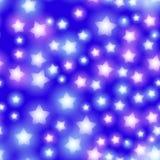 Abstract sterrig naadloos patroon met neonster op heldere roze en lilac, blauwe achtergrond De hemel van de melkwegnacht met ster Royalty-vrije Stock Fotografie