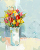 Abstract still life bouquet of flowers. Oil painting Stock Image