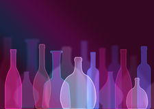 Abstract still life with colorful bottle shapes, party background Stock Image