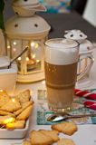 Christmas and coffee still life abstract with warm led lights Stock Images