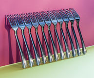 Abstract still-life with forks on a colorful Royalty Free Stock Images