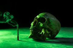 abstract still life Skull of a Skeleton with Burning Cigarette, Royalty Free Stock Image