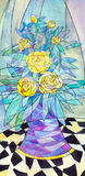 Abstract still life. Yellow roses with emerald leaves in purple Royalty Free Stock Photography