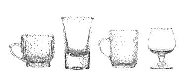 Abstract stipple transparent glass cup isolated vector objects c. Ollection set Stock Photography